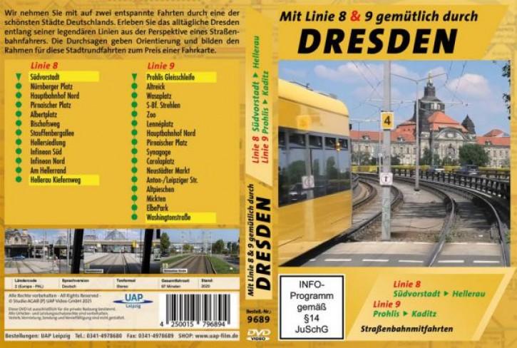 DVD: Mit Linie 8 & 9 gemütlich durch Dresden - Straßenbahnmitfahrten