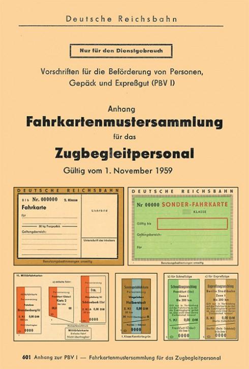 Fahrkartenmustersammlung für das Zugbegleitpersonal der Deutschen Reichsbahn 1959