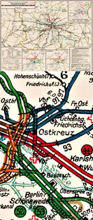 Übersichtskarte der Reichsbahn-Direktion Berlin 1933 Deutsche Reichsbahn-Gesellschaft