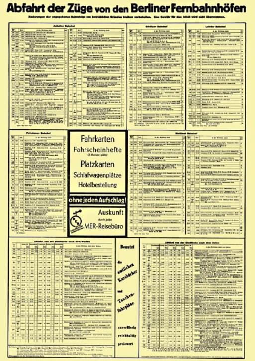 Aushangfahrplan Berliner Fernbahnhöfe 1934 (Reprint)