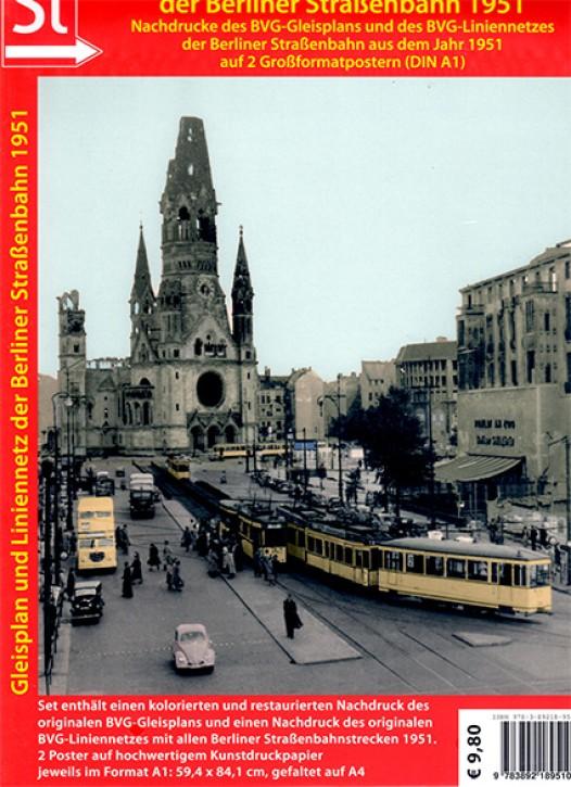 Gleisplan und Liniennetz der Berliner Straßenbahn 1951