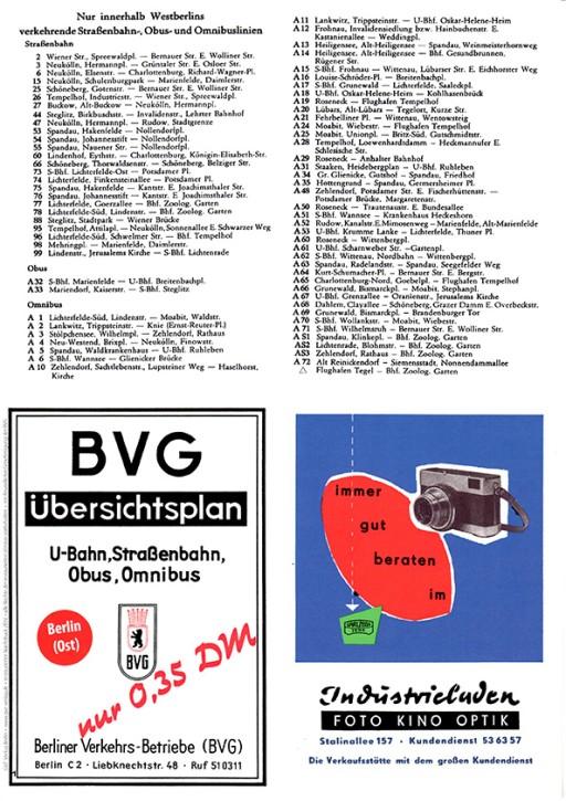 Berlin-Stadtplan mit Liniennetz der BVG-Ost Juni 1960