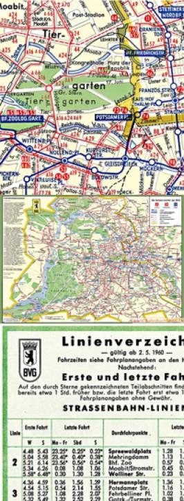 Berlin-Stadtplan mit Liniennetz der BVG-West Mai 1960