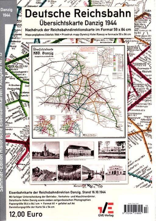 Übersichtskarte der Reichsbahn-Direktion Danzig 1944 Deutsche Reichsbahn. Reprint