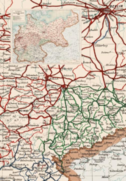 Deutsches Reich Karte.Karte Die Eisenbahnen Im Deutschen Reich 1914 Reprint