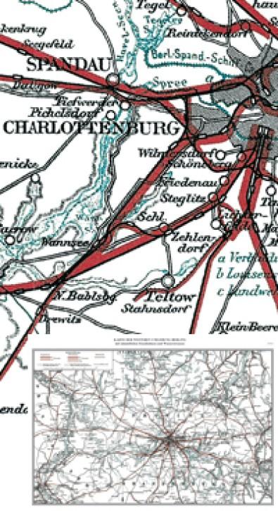 Karte der weiteren Umgebung Berlins mit sämtlichen Eisenbahnen und Wasserstraßen von 1896. Reprint