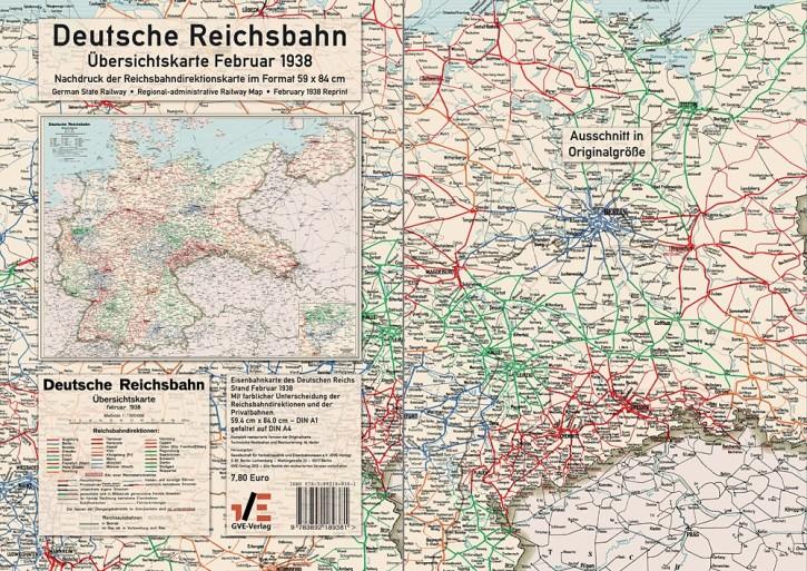 Deutsche Reichsbahn Übersichtskarte Februar 1938 - Reprint
