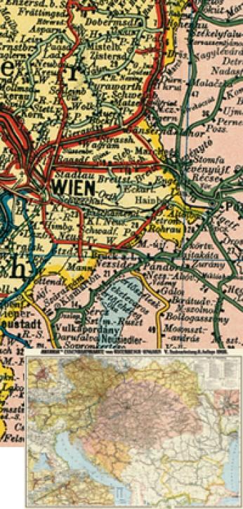 Eisenbahnkarte von Österreich-Ungarn 1918 (Reprint)