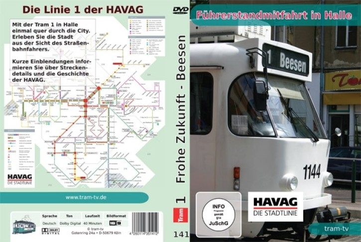 DVD: Führerstandmitfahrt in Halle. Tram Linie 1 Frohe Zukunft - Beesen