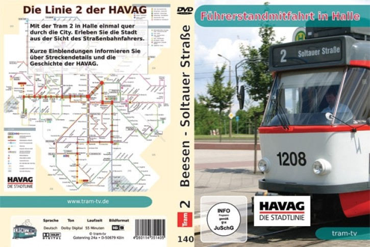 DVD: Führerstandmitfahrt in Halle. Tram Linie 2 Beesen - Soltauer Straße