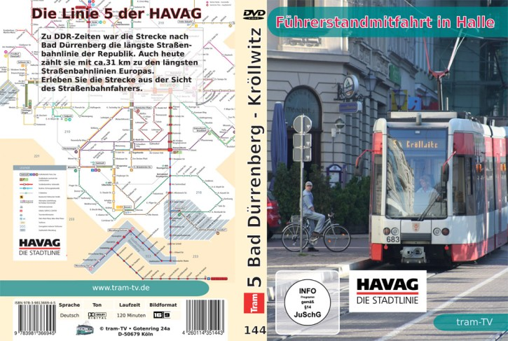 DVD: Führerstandmitfahrt in Halle. Tram Linie 5