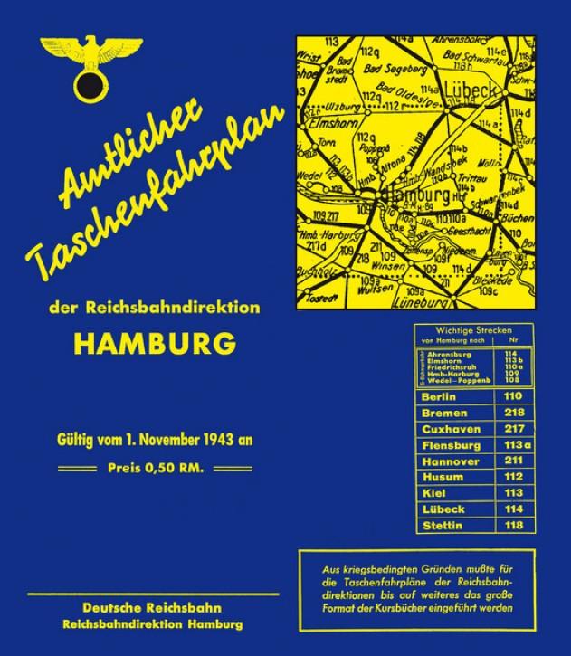 Amtlicher Taschenfahrplan Reichsbahndirektion Hamburg - Jahresfahrplan 1943/1944
