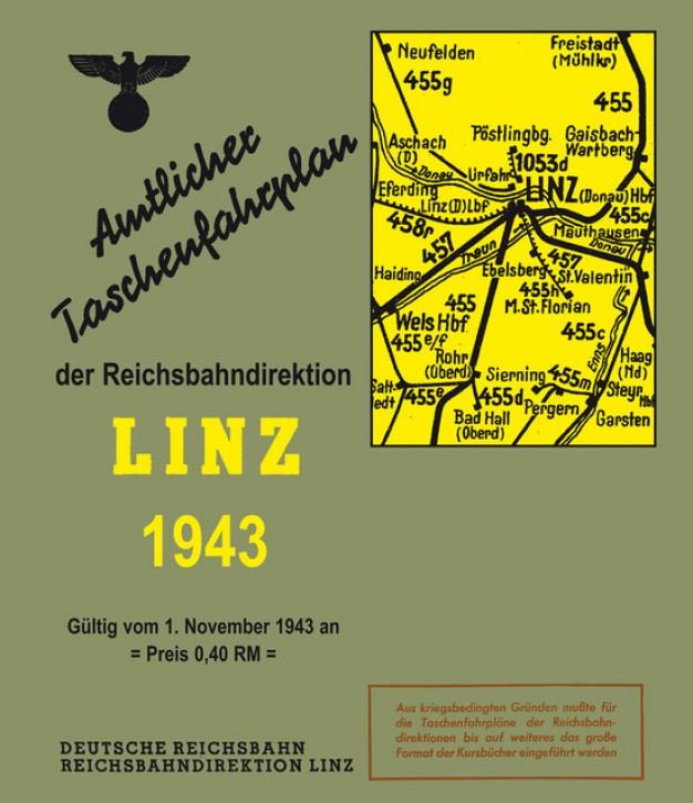 Amtlicher Taschenfahrplan der Reichsbahndirektion Linz 1943