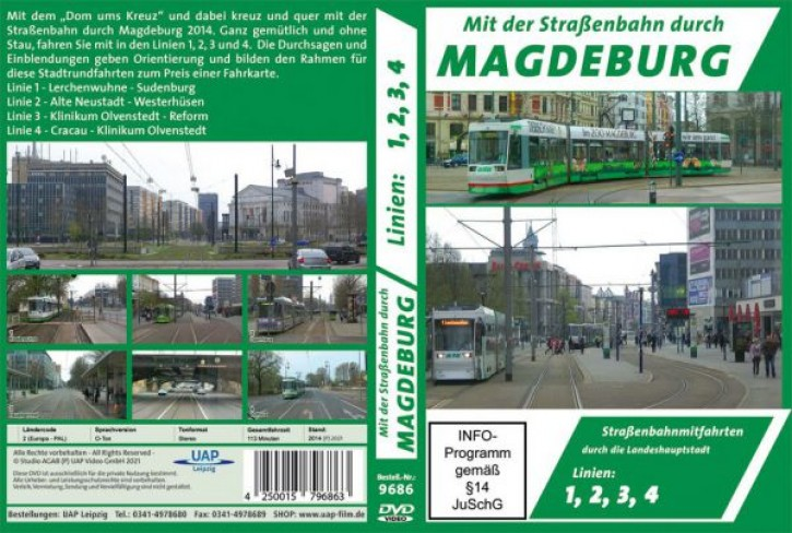 DVD: Mit der Straßenbahn durch Magdeburg. Straßenbahnmitfahrten durch die Landeshauptstadt. Linien 1, 2, 3, 4