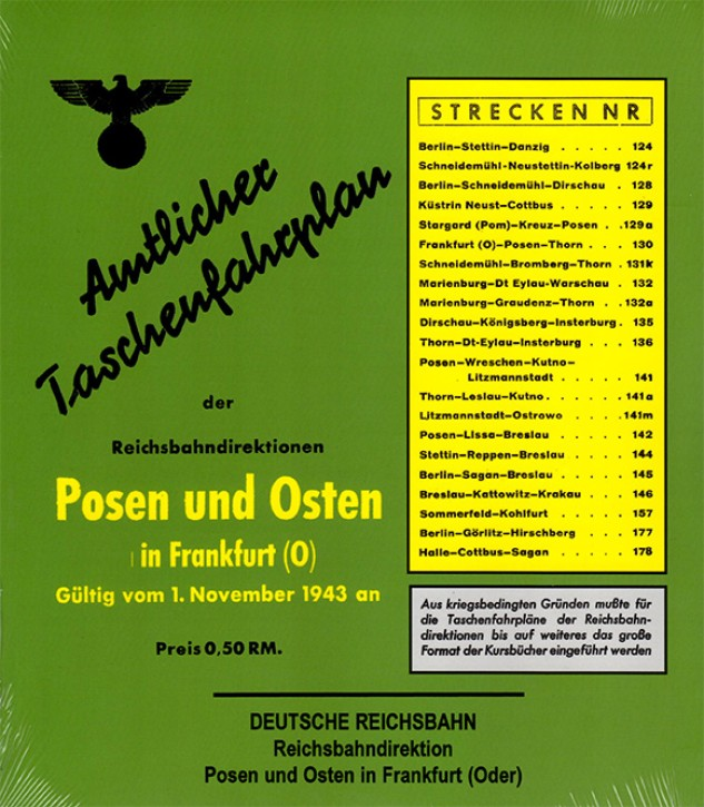 Amtlicher Taschenfahrplan der Reichsbahndirektion Posen und Osten in Frankfurt (Oder) 1943