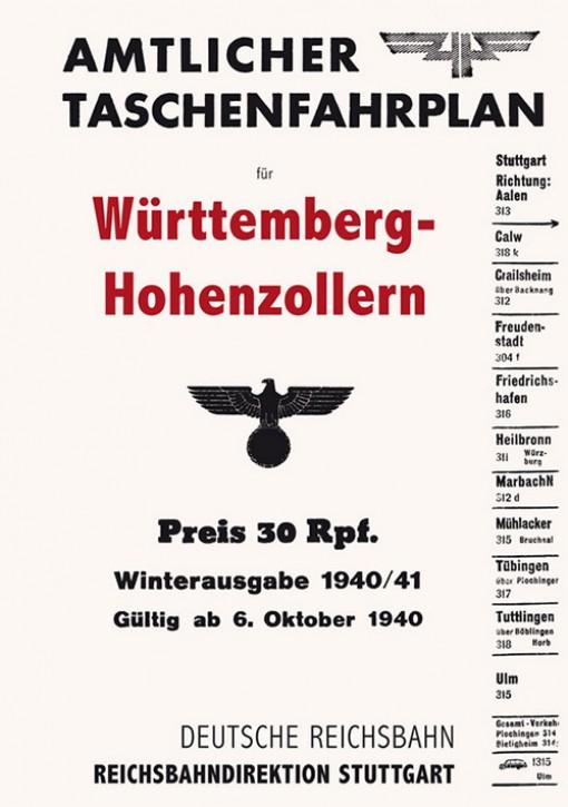 Amtlicher Taschenfahrplan für Württemberg-Hohenzollern (Stuttgart) 1940 (Reprint)